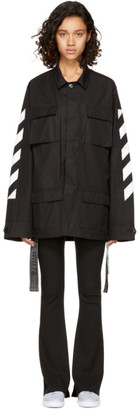 Off-White Black Brushed Diagonal Field Jacket $1,055 thestylecure.com