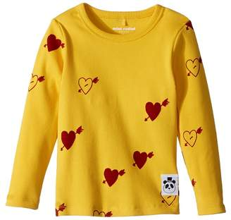 Mini Rodini Heart Rib Long Sleeve T-Shirt Girl's T Shirt