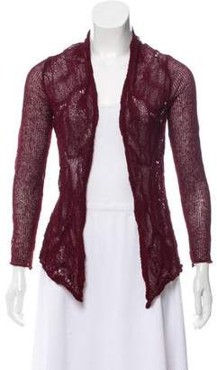 Eileen Fisher Open-Knit Accented Three-Quarter Sleeve Cardigan