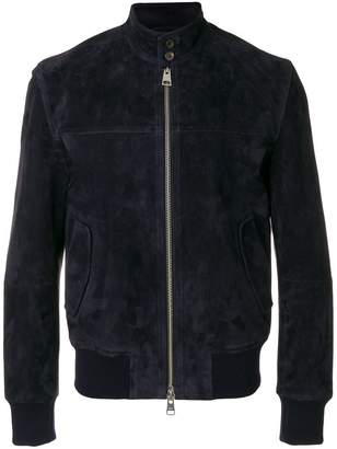 Ami Alexandre Mattiussi suede leather zipped jacket Harrington collar