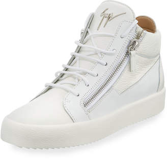 Giuseppe Zanotti Men's Textured Leather Mid-Top Sneakers