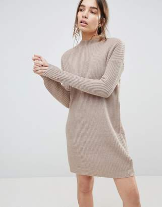 Asos DESIGN Chunky Knit Dress In Rib With High Neck