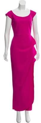 Chiara Boni Bateau Neck Cap Sleeve Gown Pink Bateau Neck Cap Sleeve Gown