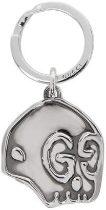 Gucci Silver GucciGhost Skull Keychain