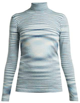 Missoni Space Dye Wool Roll Neck Sweater - Womens - Blue Multi