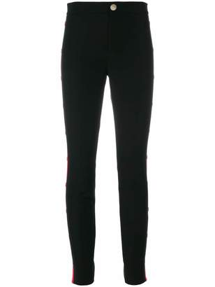 Gucci buttoned Web side panel skinny trousers