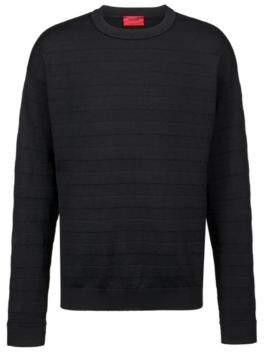HUGO Boss Oversized-fit sweater in merino wool 3D stripes M Black