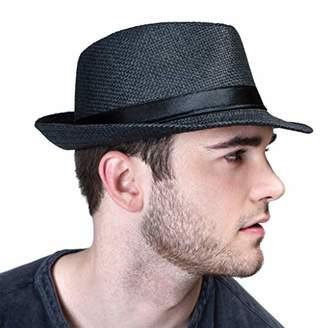 349213ec19df4a accsa Men Fedora Straw Panama Hat Classic Solid Summer UPF50 UV Sun  Protection