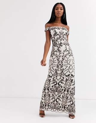 Goddiva bandeau maxi dress with baroque detail in black and cream