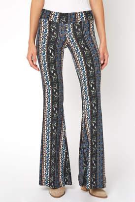 Juniper Blu Boho Paisley Vertical Print Fit & Flare Pant