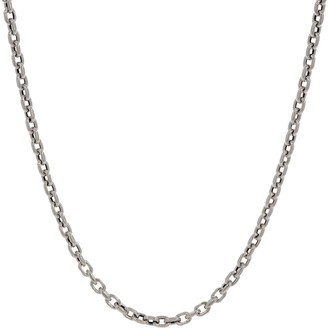 Italian Silver Adjustable Oval Link Necklace, 15.0g