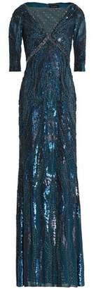 Jenny Packham Embellished Mesh-Paneled Silk-Blend Gown