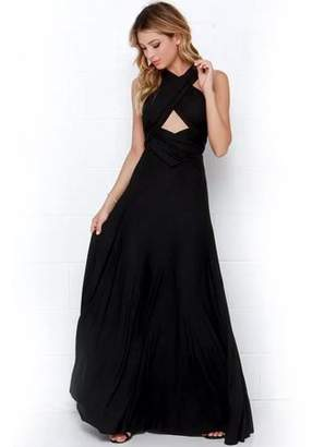 Sunrain Long Dresses for Women, Womens Dresses V Neck Strappy Party Beach Long Maxi Dress Sleeveless Halter Bandage Ball Gown Dress for Women W/ Many Wearing Methods , Black , L