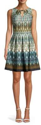 Gabby Skye Printed Keyhole Fit-&-Flare Dress
