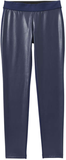 Joe Fresh Women's Faux Leather Front Pant, Navy (Size XS)