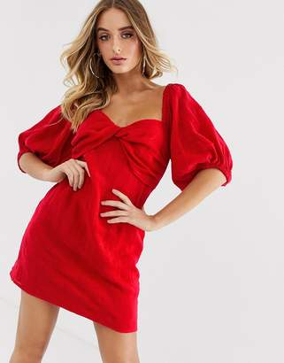 Talulah Ruby puff sleeve dress