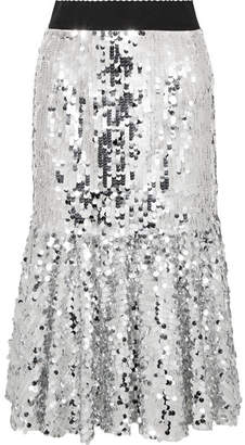 Dolce & Gabbana Paillette-embellished Tulle Midi Skirt - Silver