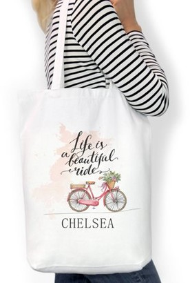 """Monogram Online Life Is A Beautiful Ride Custom Cotton Tote Bag, Sizes 11"""" x 14"""" and 14.5"""" x 18"""""""