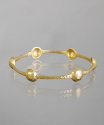 Kevia gold hammered thin shield bangle