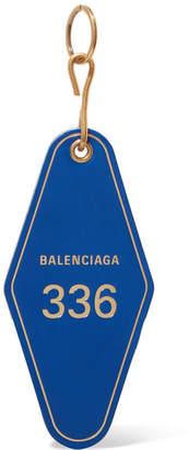 Balenciaga Hotel Printed Leather Keychain - Blue