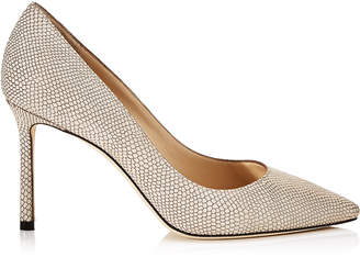 Jimmy Choo ROMY 85 Nude Printed Metallic Leather Pointy Toe Pumps