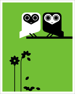 Hybrid-Home Limited Edition Print Oma and Olaf Owl - Green