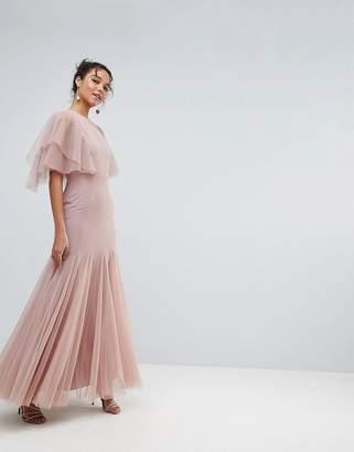 Asos Tulle Godet Flutter Sleeve Maxi Dress