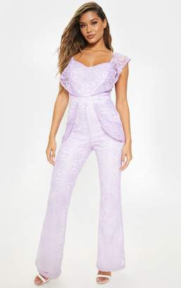PrettyLittleThing White Lace Frill Detail Sweetheart Neckline Jumpsuit