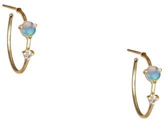 WWAKE Counting Collection Two-Step Diamond & Opal Hoop Earrings