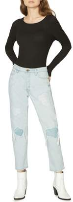 Sanctuary Tapered Straight Reinforced Ripped Jeans