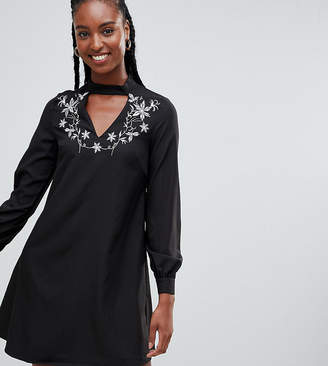 Glamorous Tall A-Line Dress With Embroidered Choker Neck
