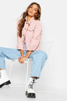 boohoo Mixed Cord Pink Denim Jacket