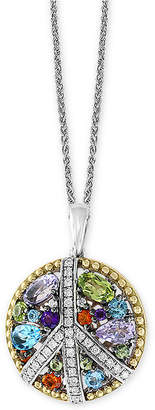 """Effy Multi-Gemstone (1-1/2 ct. t.w.) & Diamond (1/6 ct. t.w.) Peace Sign 18"""" Pendant Necklace in Sterling Silver & 18k Gold"""