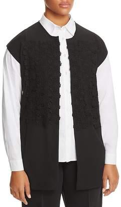 Marina Rinaldi Malia Lace Overlay Mixed Media Vest $540 thestylecure.com