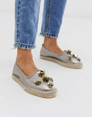 South Beach sequin espadrille in pewter