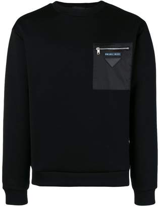 Prada contrast patch sweatshirt