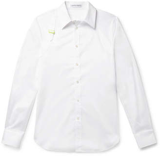 Alexander McQueen Slim-Fit Harness-Detailed Pique-Panelled Cotton-Poplin Shirt - White