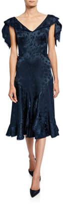 Zac Posen Floral-Jacquard Satin Ruffled Dress