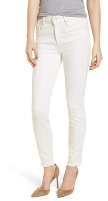 Mother The Looker High Waist Fray Ankle Skinny Jeans