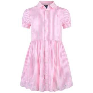 Ralph Lauren Ralph LaurenGirls Pink Striped Embroidered Dress