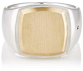 Tom Wood Women's Cushion Goldtop Signet Ring-Silver