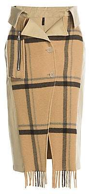 Unravel Project Women's Double-Breasted Mackintosh Trench Skirt