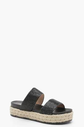 boohoo Diamante Double Strap Flatforms