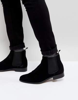 WALK LONDON Walk London Harrington Suede Chelsea Boots in Black