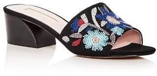 AVEC LES FILLES Women's Sloane Embroidered Suede Block Heel Slide Sandals