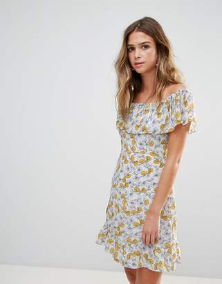 Goldie Floral Frilly Off Shoulder Dress