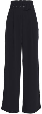 W118 By Baker Suzette Belted Crepe Wide-Leg Pants