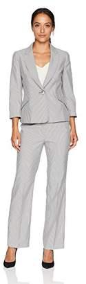 Le Suit Women's Petite Pinstripe 1 BTN Notch Collar Pant