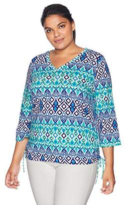 Caribbean Joe Women's Plus Size Adjustable Three Quarter Sleeve Ruched V Neck Top