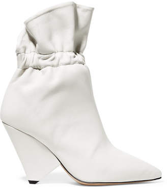 Isabel Marant Lileas Ruched Leather Ankle Boots - Ivory